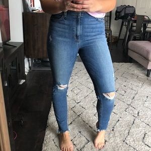 Joe's Jeans high rise skinny distressed ankle jean